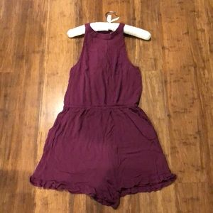 Maroon romper with POCKETS!